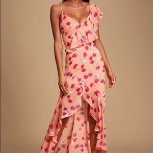 LULU Bloom Forever FloralRuffled High-Low Dress XS